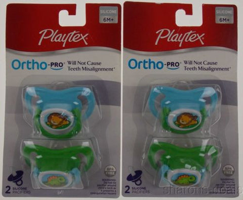 Playtex OrthoPro Silicone Pacifier Set 2 6m+ Blue Baby Lion Dinosaur Orthodontic - FUNsational Finds - 1