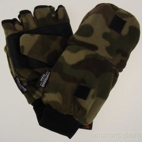 Camo Athletech Convertible Gloves Mittens 3M Thinsulate Mens Plush Winter Snow - FUNsational Finds - 1