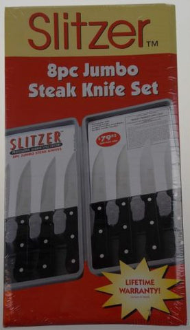 Slitzer 8 Pc Jumbo Steak Knife Set Case Stainless Steel SS Full Tang Serrated - FUNsational Finds - 1