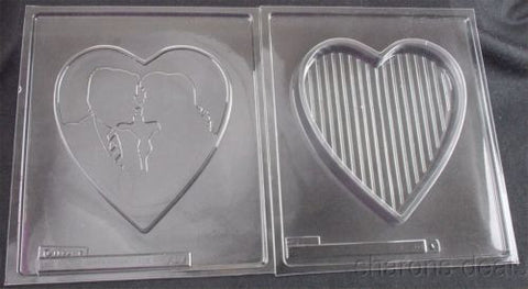 Large Heart Box 2 Pc Chocolate Mold 3D Kissing Couple Wedding Shower Life Party - FUNsational Finds - 1