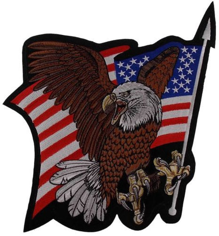USA Flag Screaming Eagle Back Patch Embroidered Large Motorcycle Rider Jacket US - FUNsational Finds - 1