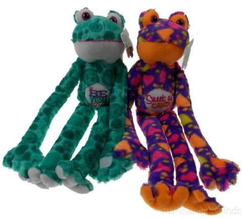 Lot 2 Peace and Love Frogs Beautiful Sweet Soft Hanging Plush Embroidered - FUNsational Finds - 1