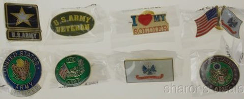 Set 8 US Army Pins Collector Flag Retired Vetern Soldier Hat Baseball Patriotic - FUNsational Finds - 1