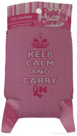 Lot of 11 Keep Calm Carry On Breast Cancer Pink Can Insulator Cooler Koozie - FUNsational Finds - 1