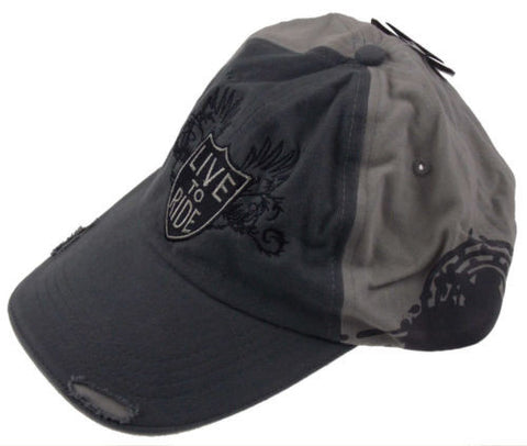 Rolling Steel Thunder Live To Ride Adult Biker Cap Gray Distressed Embroidered - FUNsational Finds - 1
