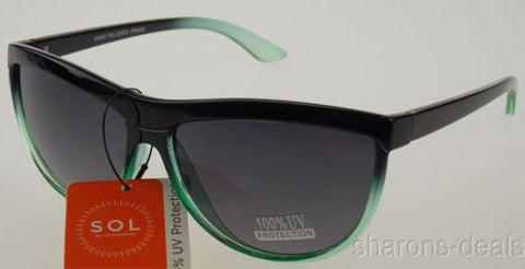 Sol Classic Sunglasses 100% UV Protection Green Black Plastic Oval 60-15-140 NEW - FUNsational Finds - 1