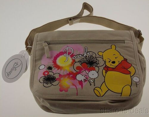 Disney Winnie Pooh Brown Bag Diaper Shoulder Purse Multi Function Rainbow Rattle