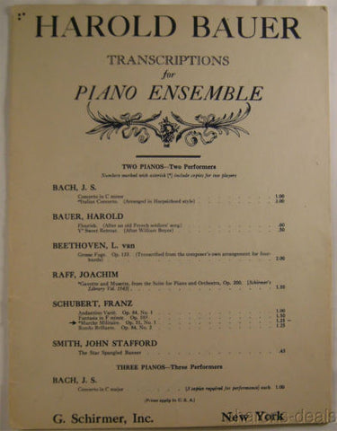 Harold Bauer Transcriptions For Piano Ensemble Franz Schubert Marche Militaire - FUNsational Finds - 1