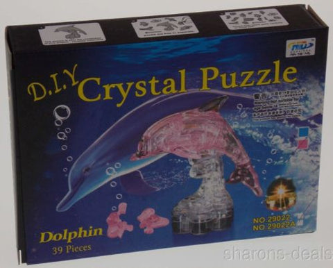 "Lot 2 DIY 3D Crystal Dolphin Figurine Puzzles Model Pink Clear Stand 4"" Jigsaw - FUNsational Finds"