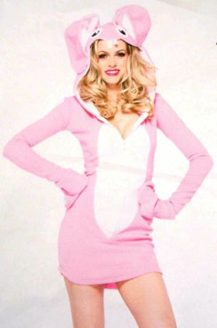 Leg Avenue Bunny Pajamas PJ Dress LS Sexy Halloween Costume Cosplay Pink White - FUNsational Finds - 1