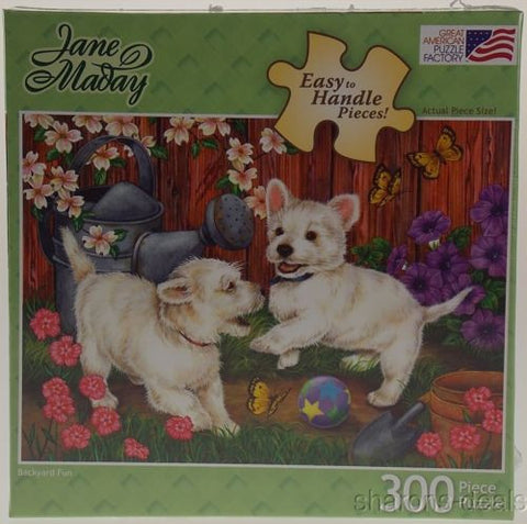 Jane Maday Dog Puppy Jigsaw Puzzle 300 Pc Backyard Fun 27x19 USA Easy Handle NEW - FUNsational Finds