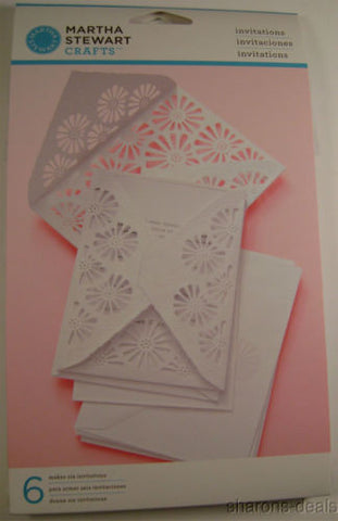 Lot 6 Martha Stewart Crafts Vintage Flower Invitations 36 Envelopes Seals Diecut - FUNsational Finds - 1