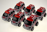 Lot 6 Ambulance White Red 4WD Truck Van Pull Back Car Toy Party Favor Runs Moves - FUNsational Finds - 3