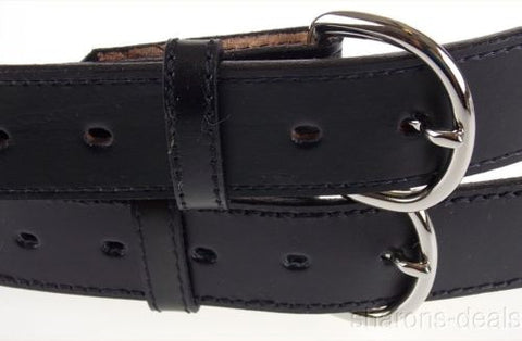 "Mens Dress Belt 48 Set 2 Black 1 3/8"" Genuine Leather Made USA Silver Buckle NEW - FUNsational Finds - 1"