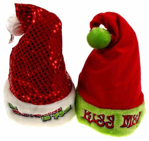 Set 2 Santa Hats Adult Kiss Me & All I Want For Xmas Is You Sequins Fur Holiday - FUNsational Finds - 1