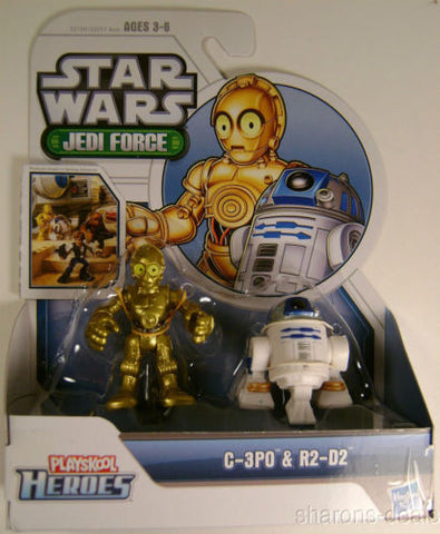 Star Wars Jedi Force C-3PO R2-D2 Set Playskool Heroes Hasbro Action Figures Seal - FUNsational Finds - 1