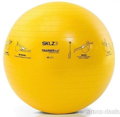 SKLZ Fitness Trainer Stability Ball Yellow 55 CM Self Guided Exercise Strengthen - FUNsational Finds