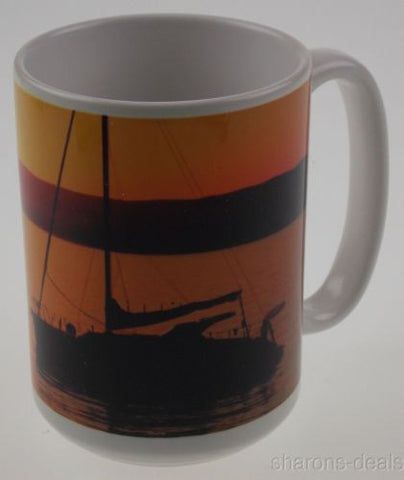 Tree Free Greetings 79093 Picture Perfect Ceramic Coffee Mug Sailboat Sunset NEW - FUNsational Finds - 1