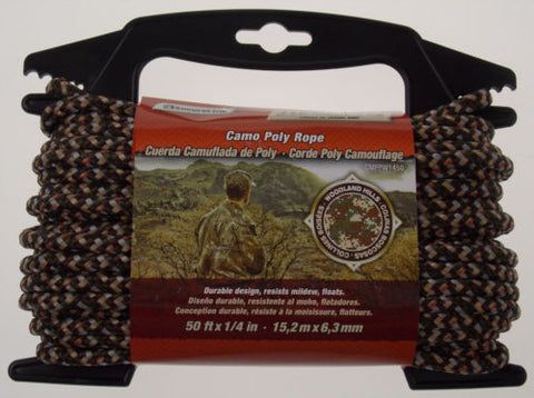 "Secureline Woodland Hills Camo Poly Rope 50'x1/4"" Camouflage Outdoor Hiking - FUNsational Finds - 1"