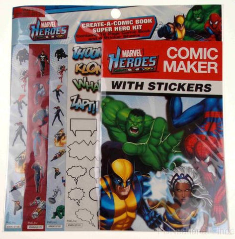 Lot 12 Marvel Heroes Comic Maker Stickers Create Book Super Hero Kit Party Favor - FUNsational Finds - 1