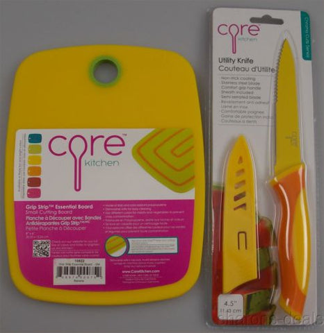 Set 2 Core Kitchen Grip Strip Essential Cutting Board Non Stick SS Utility Knife - FUNsational Finds - 1