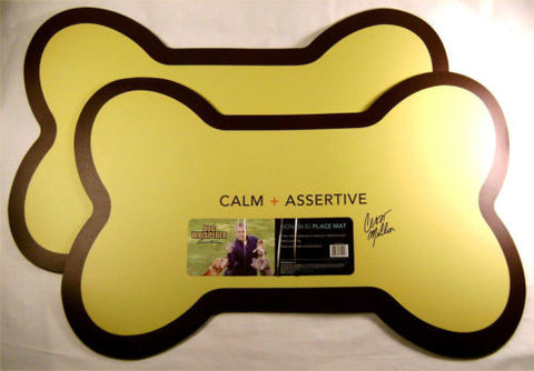 Dog Whisperer Non-Skid Place Mat Set 2 Yellow Pet Food Bowl Protection Puppy NEW - FUNsational Finds