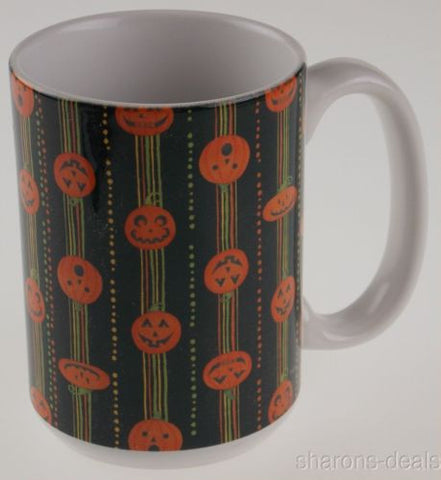 Pumpkin Stripes Ceramic Mug Debbie Mumm 15 Oz Large Handle Tree Free Greetings - FUNsational Finds - 1
