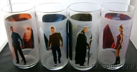 Star Trek Drinking Glasses Set 4 Burger King Spock Nero Kirk Uhura 2009 Made USA - FUNsational Finds - 1