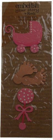 Lot 4 Embellish Your Story Roeda Magnet Pink Baby Girl Feet Carriage Rattle NEW - FUNsational Finds - 1