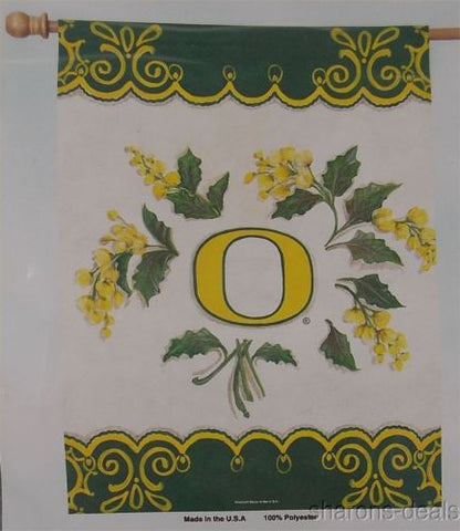 NCAA Oregon University Ducks Vertical Flag College Sports 27x37 Yellow Flowers - FUNsational Finds - 1