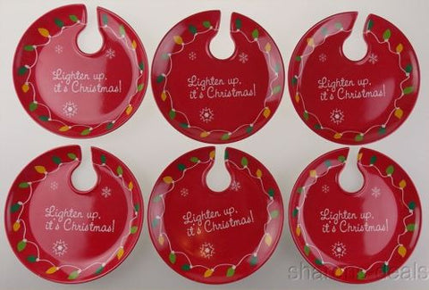 "Set 6 EarthAware Holiday Appetizer Plate 8"" Lighten Up Its Christmas Wine Glass - FUNsational Finds - 1"