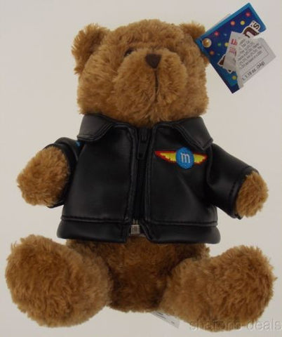 "Red M&M Bear Plush Stuffed Animal 8"" Galerie Black Leatherette Jacket 2007 Toy - FUNsational Finds - 1"