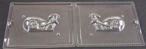 "5 3/4"" Bunny Cart 2 Pc Chocolate Mold Set Cybr Trayd 3D E224B Easter Solid NEW - FUNsational Finds - 1"