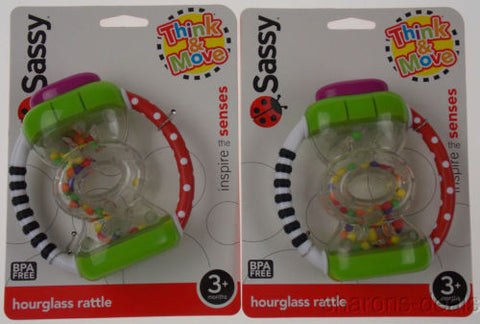 Set 2 Sassy Think & Move Hourglass Hand Rattle Baby BPA Free Baby Infant Toy NEW - FUNsational Finds - 1