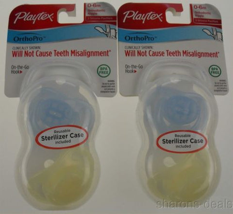 Playtex OrthoPro Silicone Pacifiers 0-6m Blue Set 2 Infant Baby Orthodontic Case - FUNsational Finds - 1