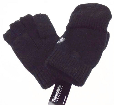 Black Wool Convertible Gloves 3M Thinsulate Insulation Mens One Size Structure - FUNsational Finds - 1