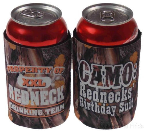 Lot of 4 Redneck Drinking Team Camo Birthday Suit Can Cooler Koozie Insulator - FUNsational Finds - 1