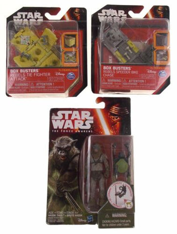 Star Wars The Force Awakens Hassk Thug Box Busters Rebels Tie Fighter Bike Lot 3