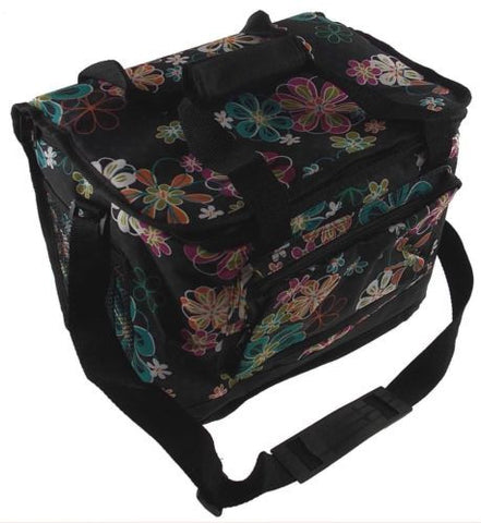 Uncle Jerrys T's Floral Insulated Cooler Black Colorful Flowers Storage Pocket - FUNsational Finds - 1