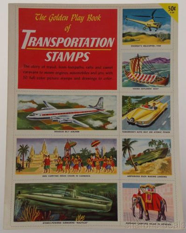 Golden Play Book Transportation Stamps Stickers Cooke 1955 Vintage Train Jet Car - FUNsational Finds - 1