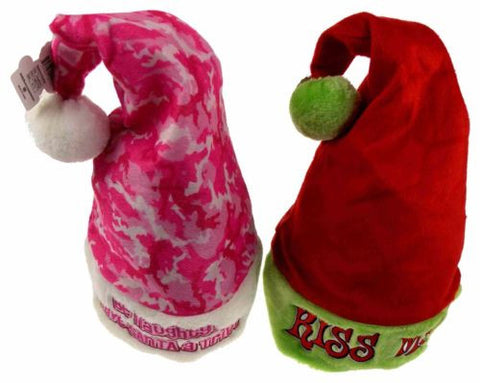 Set 2 Santa Hats Adult Kiss Me & Be Naughty Save Santa A Trip Christmas Holiday - FUNsational Finds - 1