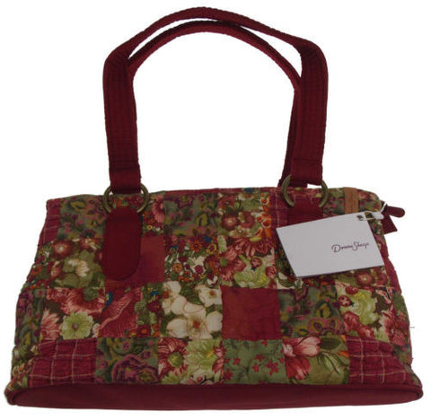 Donna Sharp Watercolor Patch Reese Purse Handbag Quilted Red Floral Adjustable - FUNsational Finds - 1