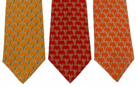 Lot 3 Olimpo 100% Silk Neckties Wheat Grain Stalks Classic Dress Business Import - FUNsational Finds - 1