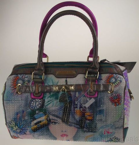 Nicole Lee New York Print Boston Handbag NY10330 Statue Liberty Taxi Shoulder - FUNsational Finds - 1