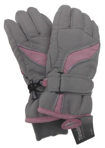 Joe Boxer Girls Ski Gloves Pink Gray 3M Thinsulate Insulation Winter Snow Warm - FUNsational Finds - 1