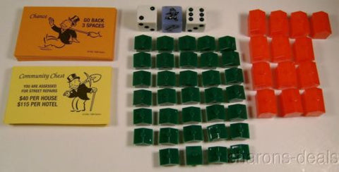 Hotels Houses Dice Die Chance Community Chest Cards Monopoly Game Replacement - FUNsational Finds