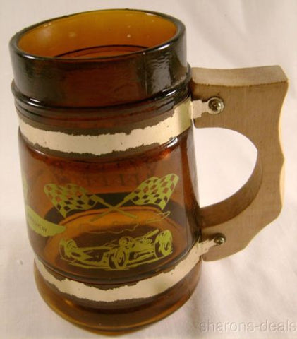 Indianapolis Motor Speedway Beer Mug Brown Glass Wood Handle Gold Bands Collect - FUNsational Finds - 1