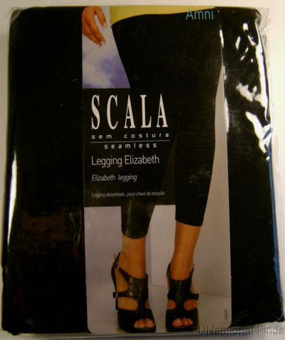 SCALA Black Leggings Elizabeth Footless Pants Ankle Length Lot of 2 Gray Stripes - FUNsational Finds - 1