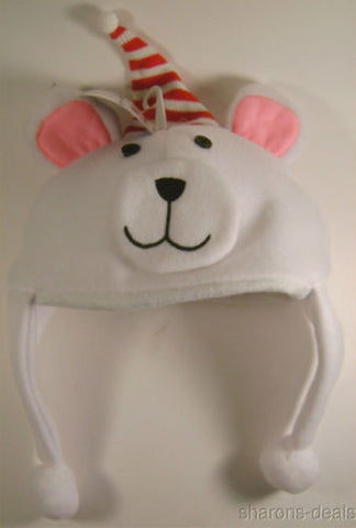 Lot 2 Toys R Us Santa Bear Character Hat White Christmas Holiday Fleece Baby NEW - FUNsational Finds - 1