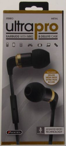 Sentry Ultra Pro Stereo Earbuds Microphone Deluxe Case H7000 Metal Tangle Proof - FUNsational Finds - 1